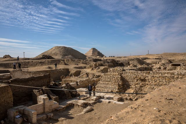 The excavation site at a vast necropolis south of Cairo