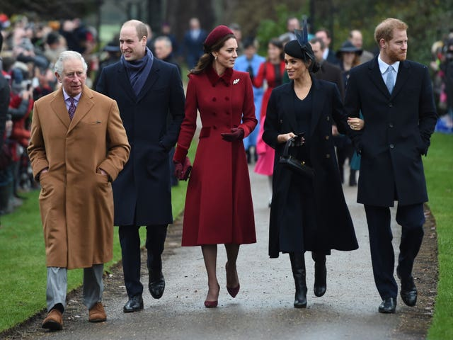 The Prince of Wales, his sons and their wives on Christmas Day