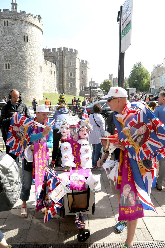 Trading in: Souvenir sellers show off their wares in Windsor (Steve Parsons/PA)