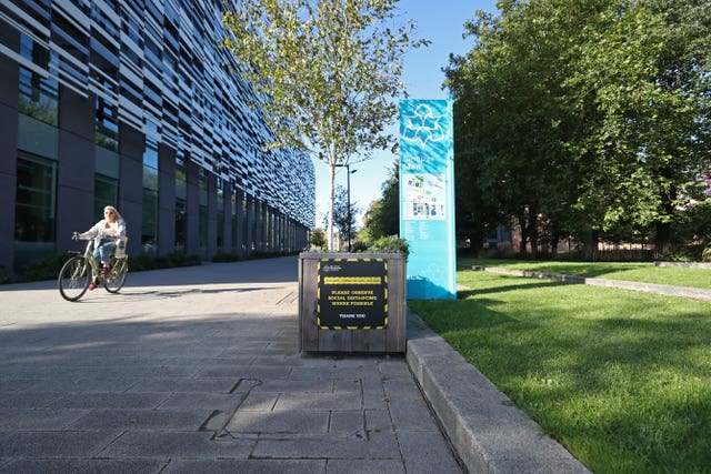 Covid-19 signage at Manchester Metropolitan University's Birley campus