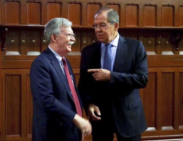 John Bolton and Sergey Lavrov