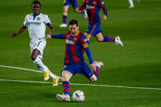 Lionel Messi scored twice for Barcelona against Getafe