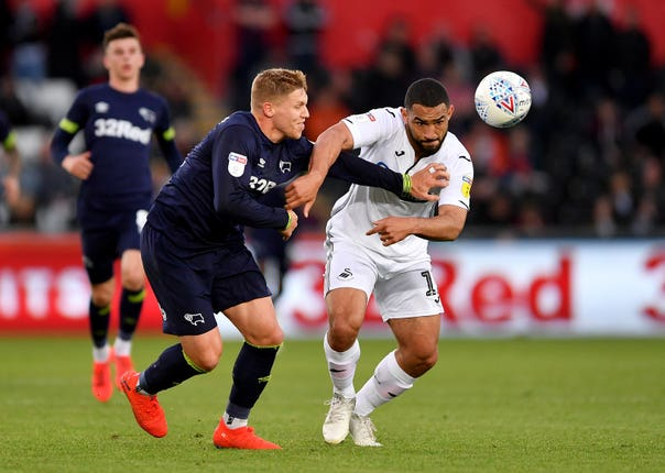 Cameron Carter-Vickers in action for Swansea against Derby