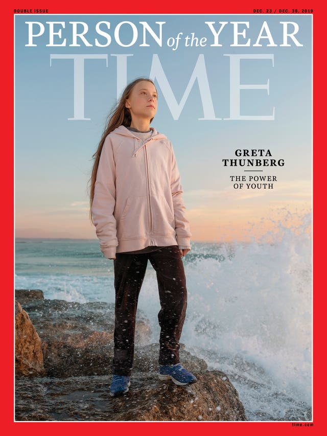 Greta Thunberg on the front of Time