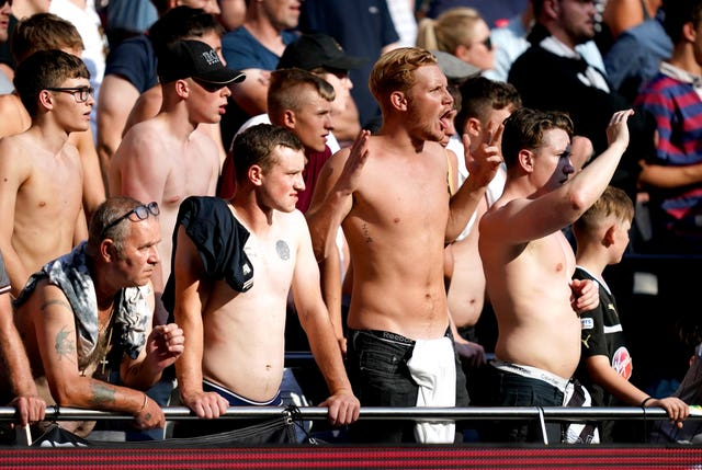 Newcastle fans made the most of the sunny weather in north London