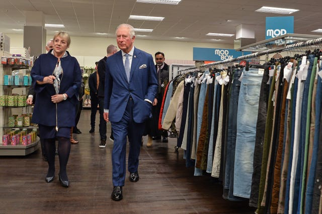The Prince of Wales visits TK Maxx store