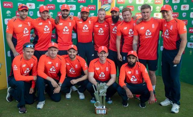 England players pose with their latest trophy