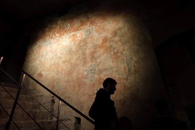 A man walks in the Domus Transitoria, the first imperial palace of Roman Emperor Nero on the Palatine Hill in Rome