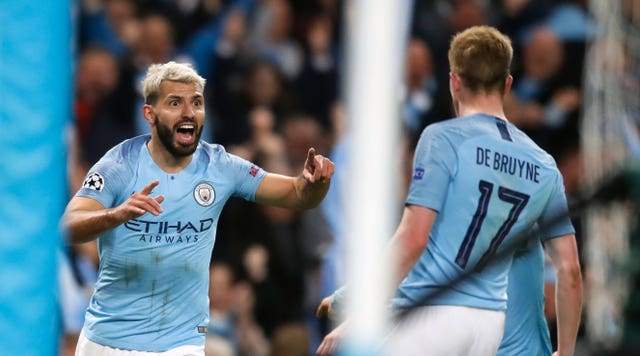 Aguero turns to creator-in-chief De Bruyne after scoring City's fourth. The Blues are now ahead for the first time in the tie at 4-3 on aggregate