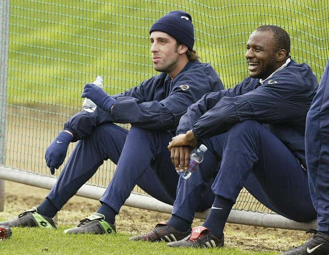 Edu (left) played alongside former Arsenal captain Patrick Vieira