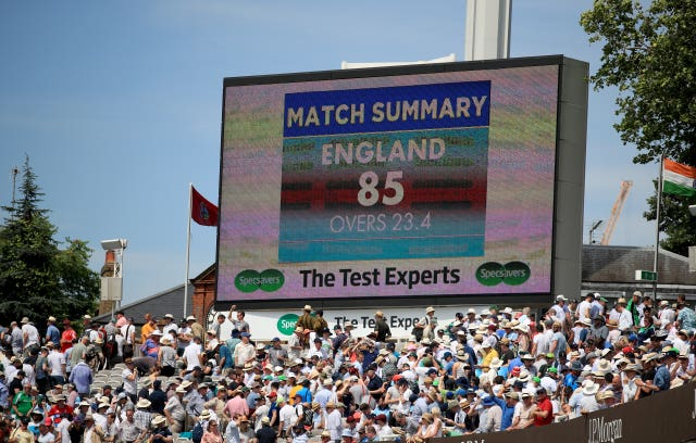The scoreboard at Lord's shows England's 85 all out total against Ireland