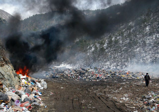 A burning landfill site in Serbia