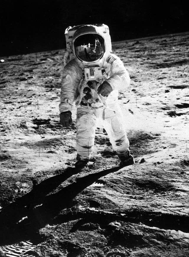 Buzz Aldrin on the surface of the moon (PA)