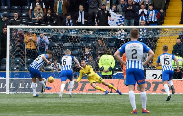 Eamonn Brophy scores the goal that takes Kilmarnock into the Europa League as Rangers suffer a 2-1 away defeat