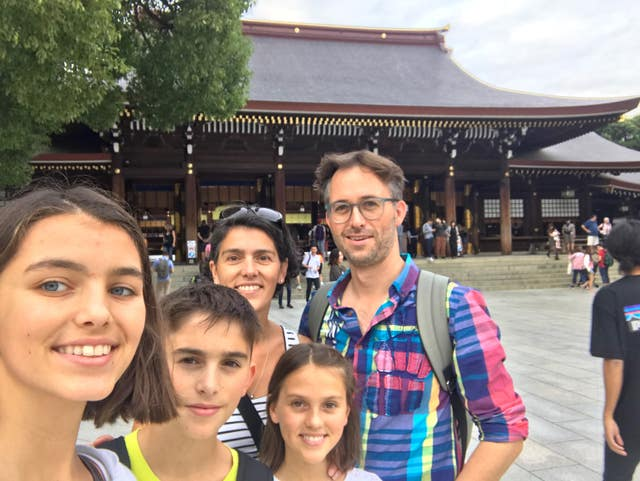 Peter Sellar, wife Elodie, and their three children have travelled to Japan for the World Cup