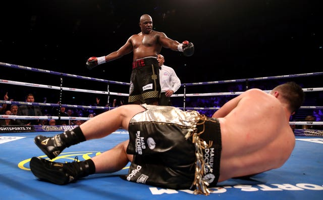 Dillian Whyte (back) had the best night of his career