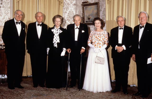 The Queen with some of her prime ministers