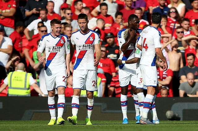 Crystal Palace celebrate Patrick Van Aanholt's late winner