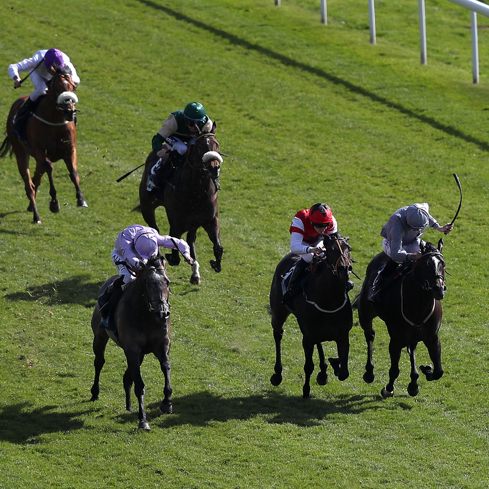 Garrus (front left) wins the British Stallion Studs EBF Westow Stakes at York