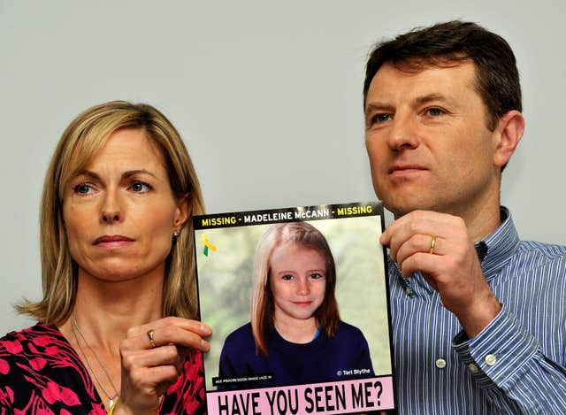 Kate and Gerry McCann during an appeal for information about Madeleine