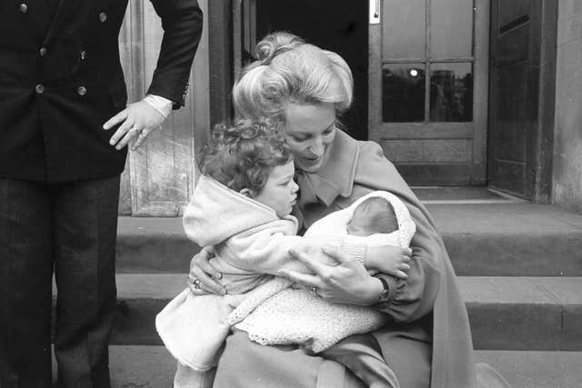 Princess Michael of Kent with Lord Frederick Windsor and new baby Lady Gabriella Windsor leaving St Mary's Hospital in 1981 (PA)