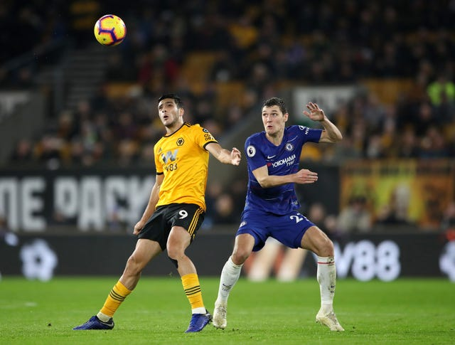 Raul Jimenez, left, levelled for Wolves