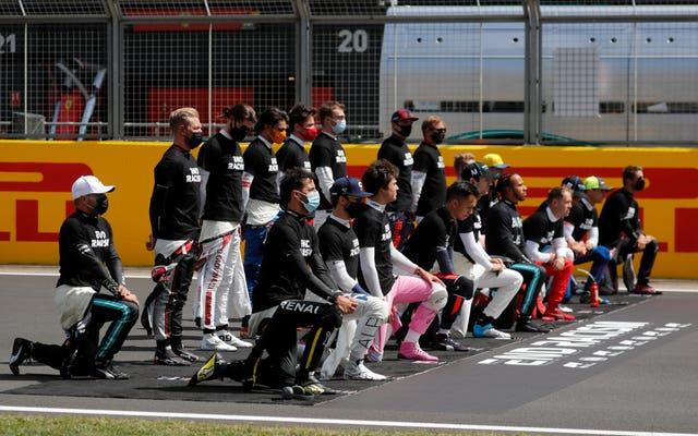 Drivers take the knee ahead of the British Grand Prix