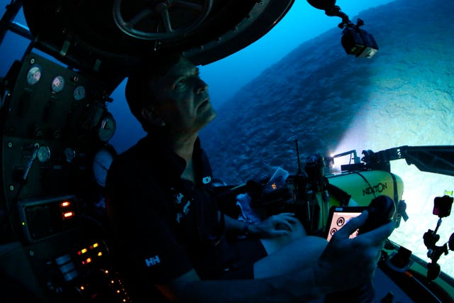 Submersible pilot Robert Carmichael navigates strong currents during a dive to 400ft below the surface