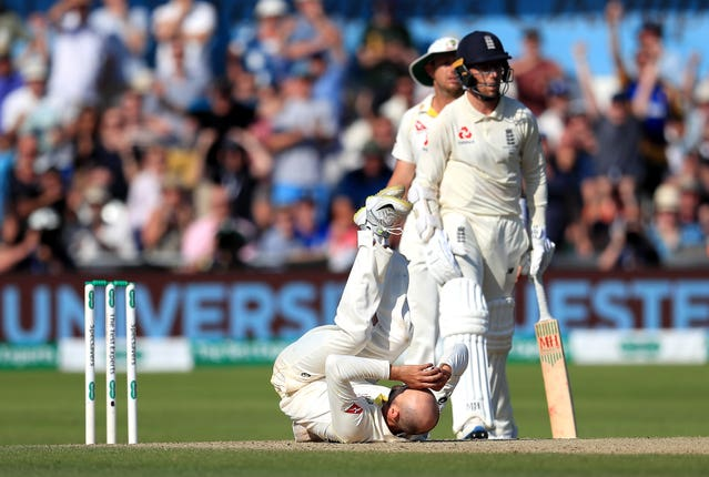 Nathan Lyon collapses to the floor at Headingley as an appeal comes to nothing