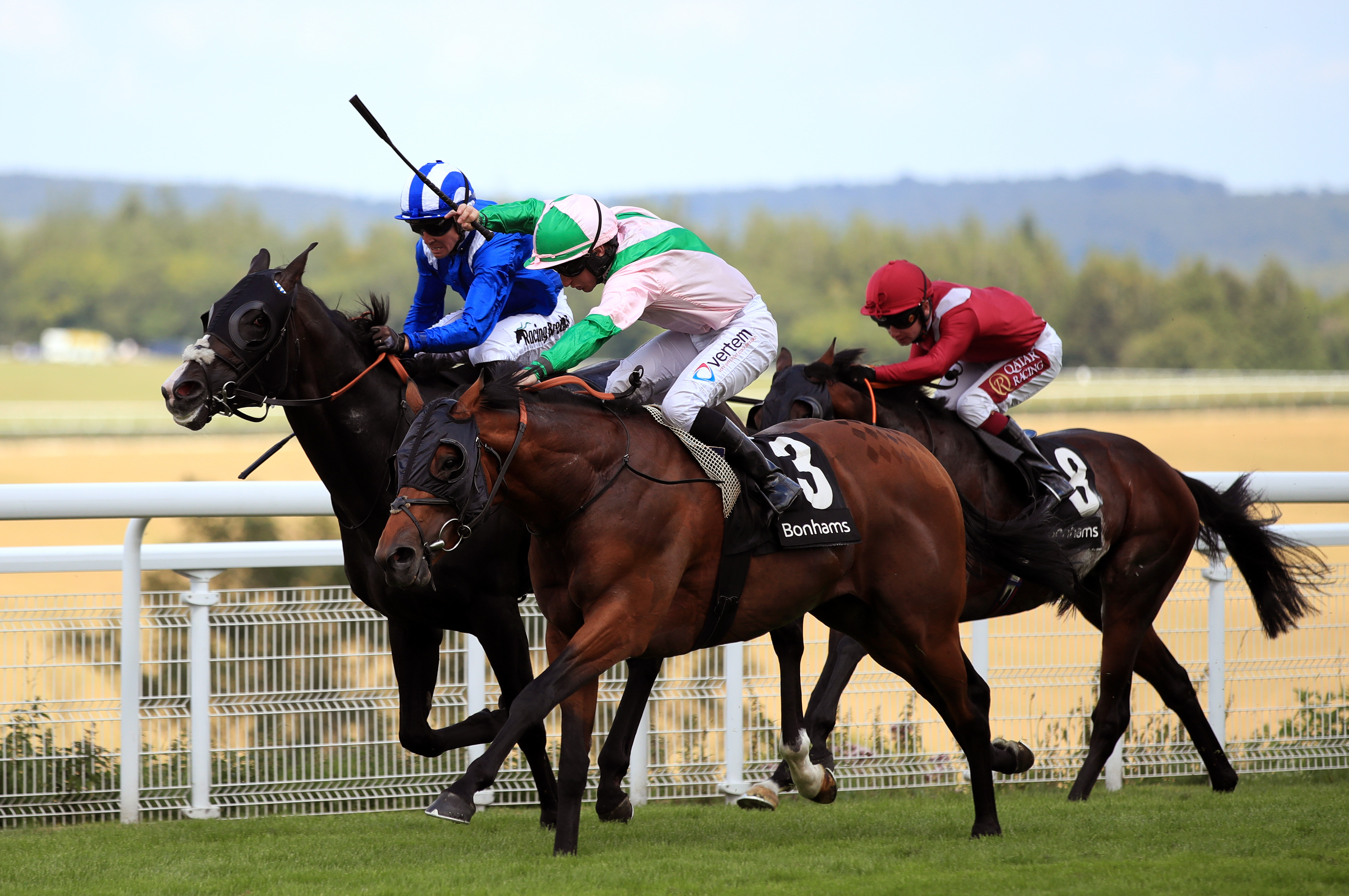 Duke Of Hazzard(pink and green silks) has been nursed back to form by trainer Paul Cole after suffering a foot problem earlier in the season (Adam Davy/PA Images)