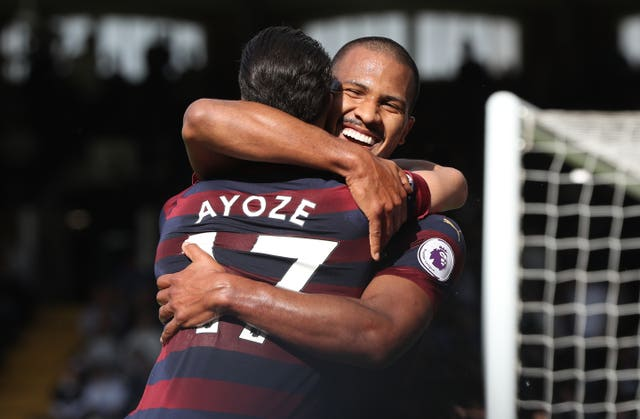Salomon Rondon, right, embraces Ayoze Perez after scoring Newcastle's fourth