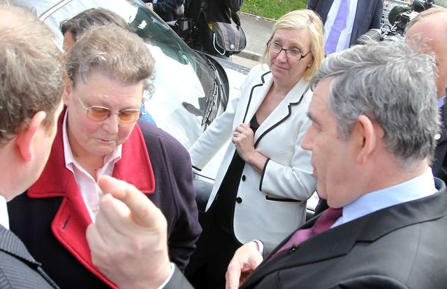 Gordon Brown speaks to local resident Gillian Duffy in Rochdale (Lewis Whyld/PA Archive)