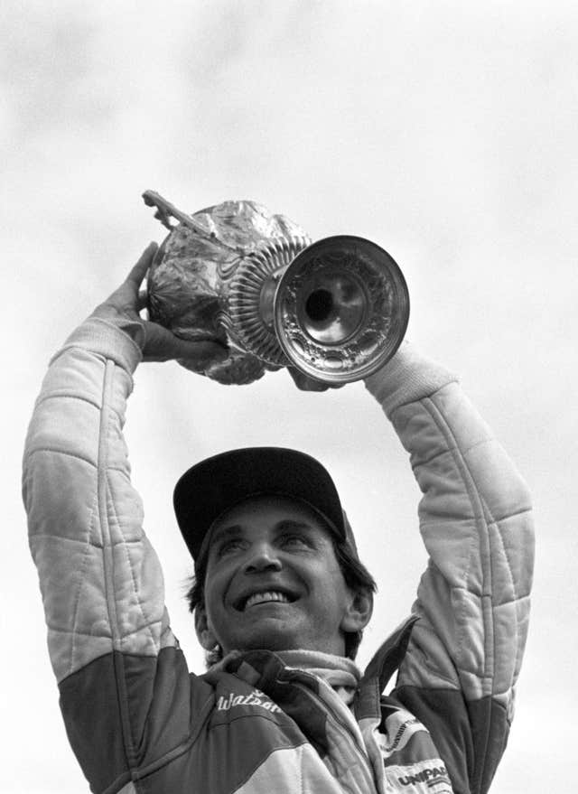 John Watson celebrates winning the 1981 British Grand Prix for McLaren