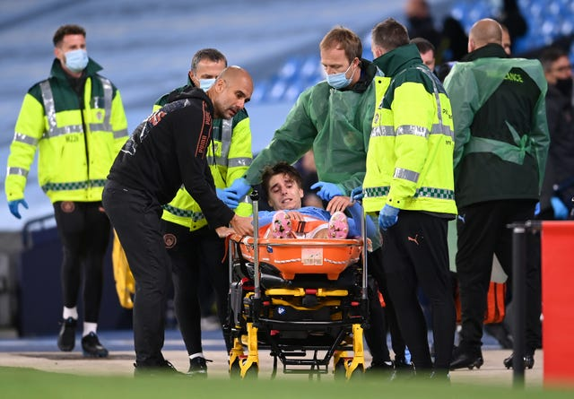 City, already without a host of players, saw teenager Adrian Bernabe carried off