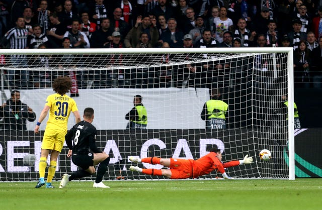 Luka Jovic scores against Chelsea in the Europa League semi-final