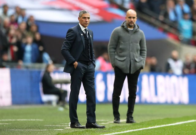 Chris Hughton guided Brighton to the FA Cup semi-finals, where they lost 1-0 to Pep Guardiola's Manchester City at Wembley