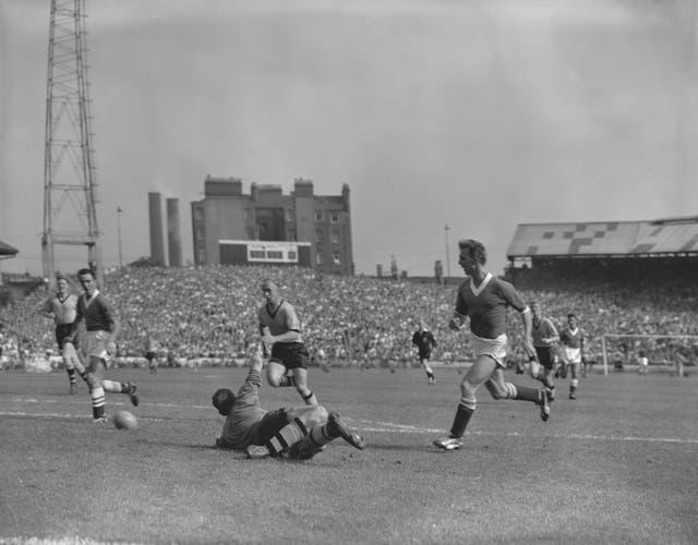 Jimmy Greaves, left, on target for Chelsea against Wolves in 1958