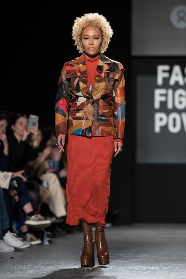 Emeli Sande on the catwalk during the Oxfam Fashion Fighting Poverty show
