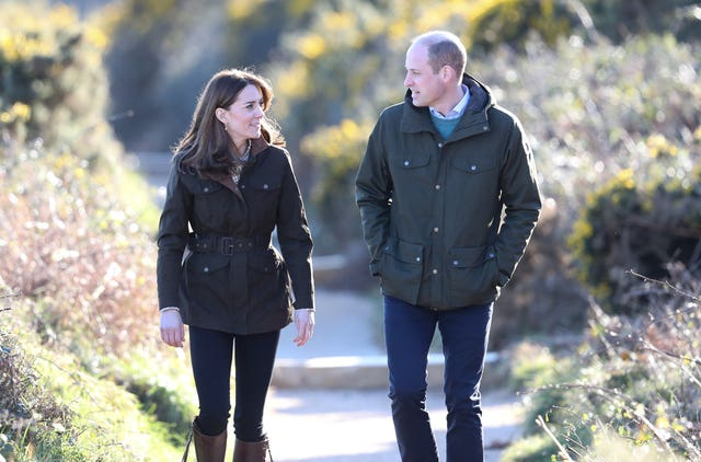 The Duke and Duchess of Cambridge on a cliff walk during a visit to Howth Head in Co Dublin