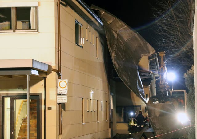 A roof that was blown off a house by strong wind in Sonthofen, Germany