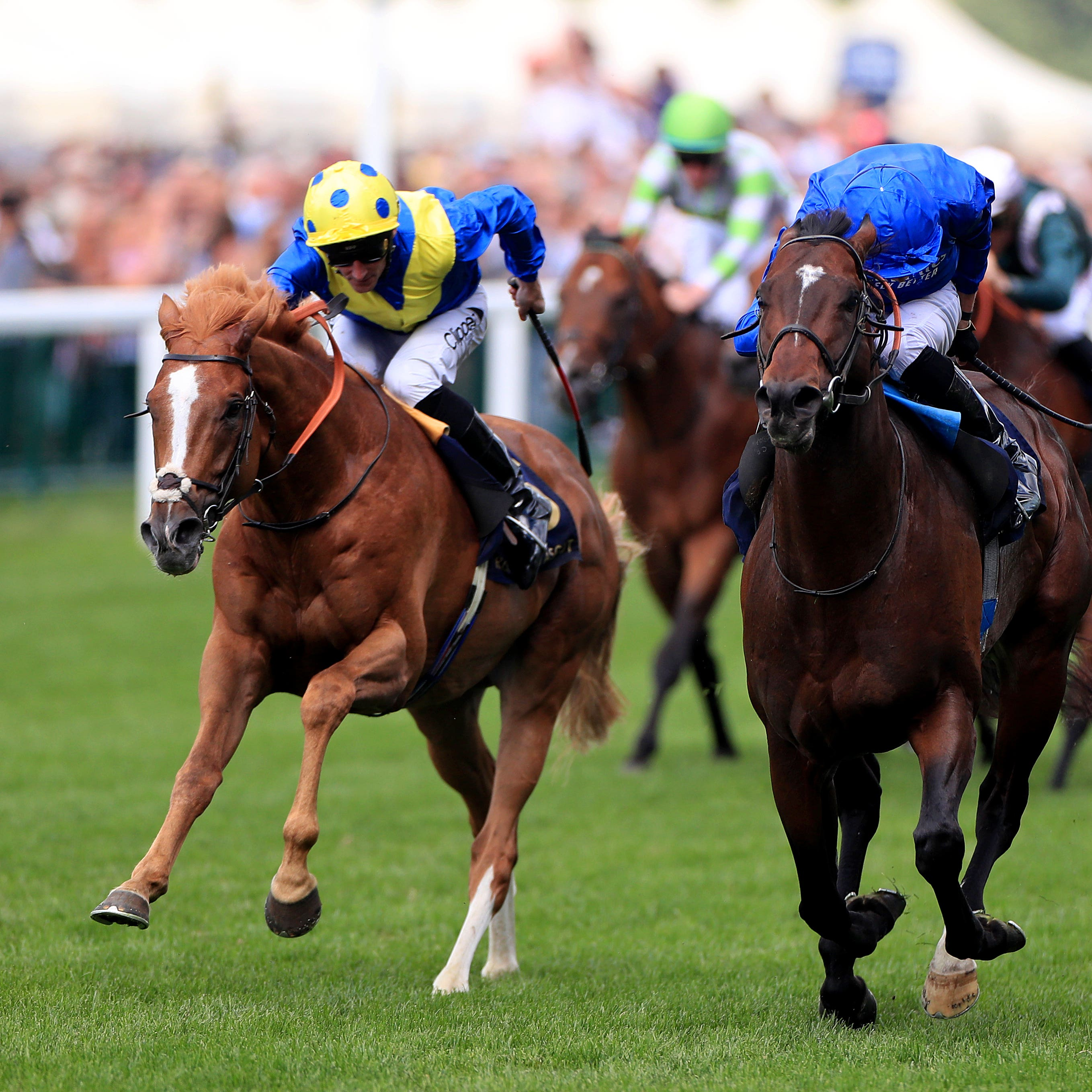 Dream Of Dreams (left) will bid to go one place better than at Royal Ascot in the Darley July Cup (Mike Egerton/PA)