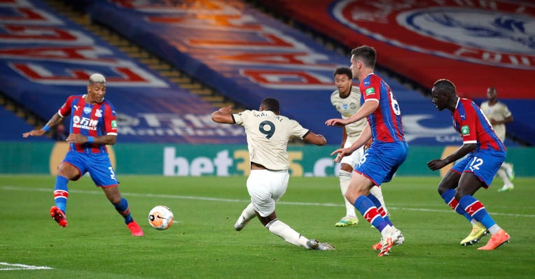 Anthony Martial wrapped up a 2-0 win at Crystal Palace on Thursday