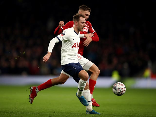 ose Mourinho does not want to discus the future of Tottenham midfielder Christian Eriksen, pictured in action against Middlesbrough in the FA Cup.