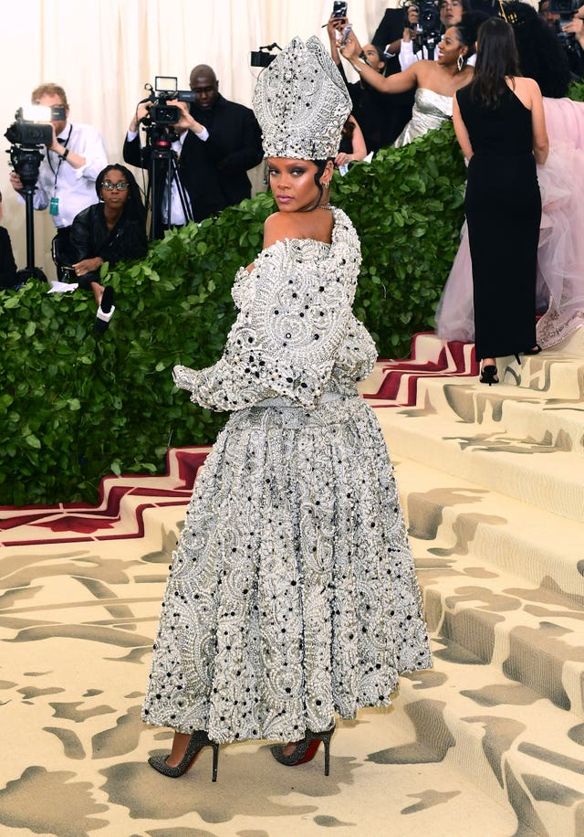 Rihanna turned heads by channelling the Pope at the Met Gala (Ian West/PA)