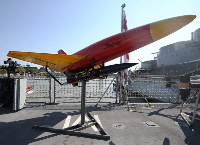 A Banshee anti aerial target system on display aboard HMS Tamar in London