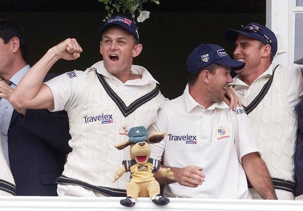 Adam Gilchrist (left) and Ricky Ponting (second right) were in the last Australia side to win the Ashes in England