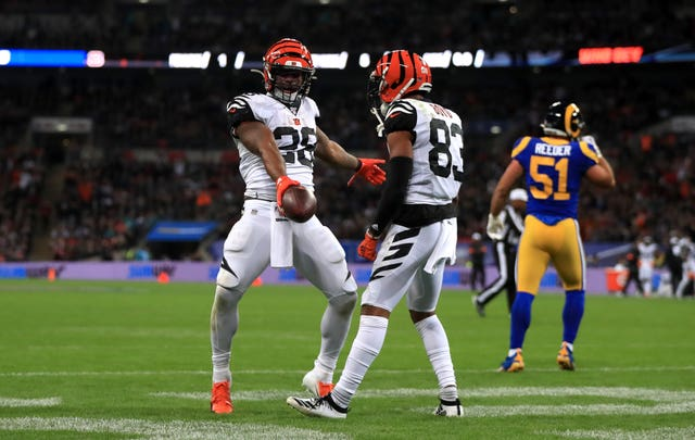 Joe Mixon celebrates a touchdown - but Cincinnati were beaten by the LA Rams at Wembley