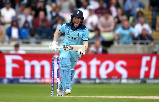 Eoin Morgan celebrates hitting the winning runs