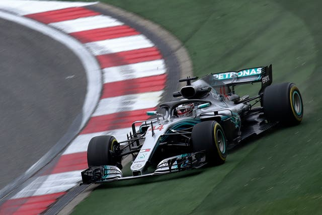 Lewis Hamilton during second practice in Shanghai