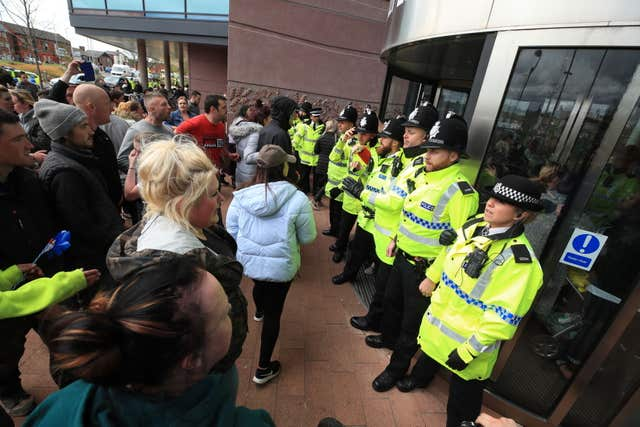 Police blocked protesters from the entrance to Alder Hey Children's Hospital (Peter Byrne/PA)